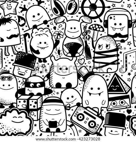Vector seamless pattern with funny monsters. Cool hand drawn characters. Cartoon hand drawn doodles, children's seamless background. Set of black and white unusual creatures - stock vector