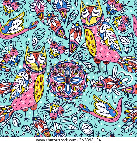 vector seamless pattern with funny owls and colorful abstract elements - stock vector