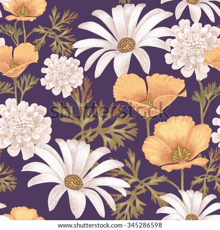 Vector seamless pattern with garden flowers. Floral illustration in vintage style. - stock vector