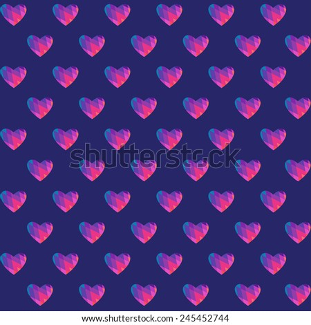 vector seamless pattern with geometric hearts - stock vector