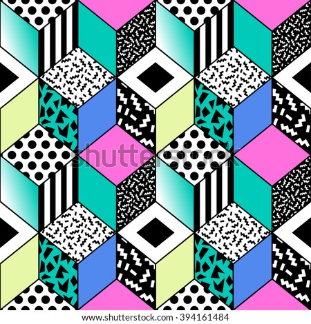 vector seamless pattern with geometric shapes. retro vintage abstract art print. fashion 80s-90s. memphis style design.  Wallpaper, cloth design, fabric, paper, cover, textile, weave, wrapping - stock vector