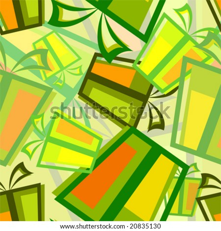 vector seamless pattern with gift box - stock vector
