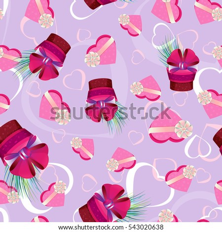 Vector seamless pattern with gift boxes on a light purple background with hearts