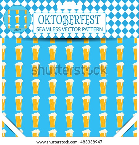 Vector seamless pattern with goblet of free beer of Oktoberfest on the blue background in the package.