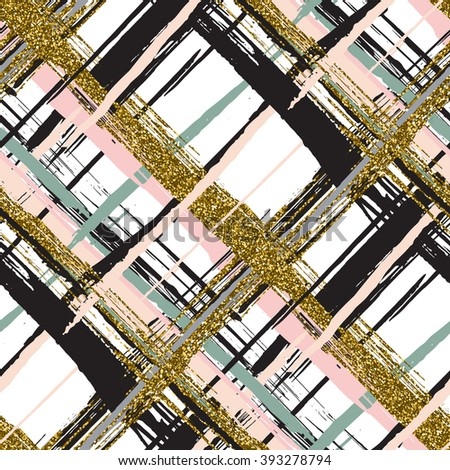Vector seamless pattern with gold glitter textured brush strokes and stripes hand painted. Black, gold, pink, green, beige colors. - stock vector