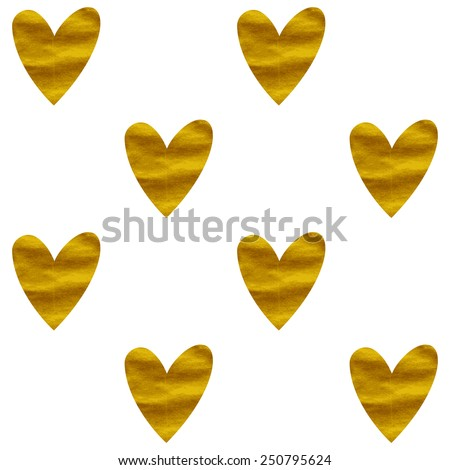 Vector seamless pattern with golden hearts. Bright fashion texture. Golden romantic background. - stock vector