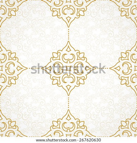 Vector seamless pattern with golden ornament. Vintage element for design in Victorian style. Ornamental lace tracery. Ornate floral decor for wallpaper. Endless texture. Light pattern fill. - stock vector