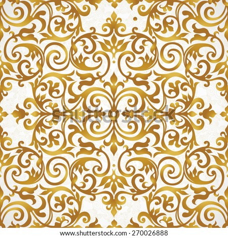 Vector seamless pattern with golden ornament. Vintage element for design in Victorian style. Ornamental lace tracery. Ornate floral decor for wallpaper. Endless texture. Bright pattern fill. - stock vector