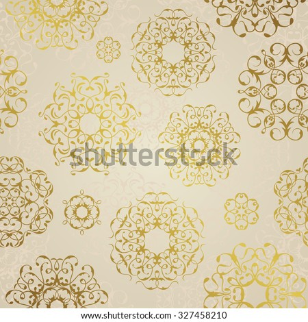 Vector seamless pattern with golden ornaments. Vintage element for design. Ornate floral decor for wallpaper. Vintage background in pastel colors