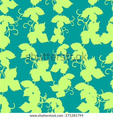 Vector seamless pattern with grape leaves - stock vector