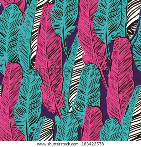 Vector seamless pattern with graphic feathers. - stock vector