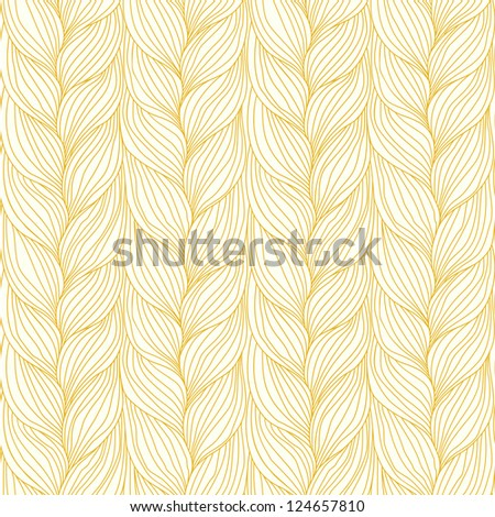 Vector seamless pattern with hairstyle of light brown plaits. Decorative illustration of interweaving of braids. Ornamental background in the form of a knitted fabric. Stylized textured yarn close-up - stock vector