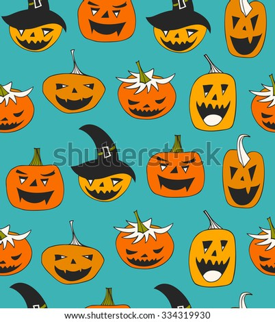 vector seamless pattern with Halloween symbols. Decorative background with funny pumpkins - stock vector