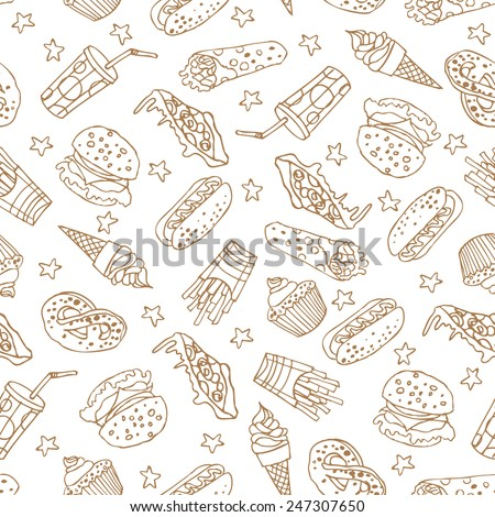 Vector seamless pattern with hand drawn  a soda, cheeseburger, french fries, ice cream, hotdog,  pizza, sweets, donut, popcorn, shawarma for fast food menu.