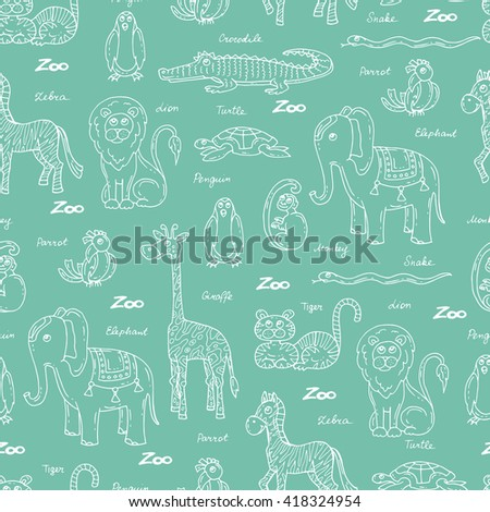 Vector seamless pattern with hand drawn animals on green color.  Pattern on the theme of zoo.  Background for use in design, packing, web site, fabric