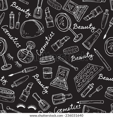 Vector seamless pattern with hand drawn attributes of cosmetics on black background. Background for use in design, web site, packing, textile, fabric