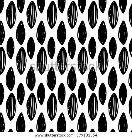 Vector seamless pattern with hand drawn black ink doodle design elements. Hand drawn leaves with branches.