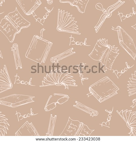 Vector seamless pattern with hand drawn books and glasses on dark background. Background for use in design, web site, packing, textile, fabric