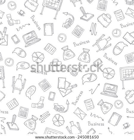 Vector seamless pattern with hand drawn business symbols. Background for use in design, web site, packing, textile, fabric
