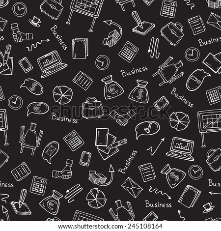 Vector seamless pattern with hand drawn business symbols on black background. Background for use in design, web site, packing, textile, fabric