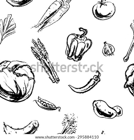 Vector seamless pattern with hand-drawn charcoal vegetables. Design of restaurants, grocery store. Vintage background. - stock vector