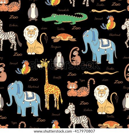 Vector seamless pattern with hand drawn colored animals on black color.  Pattern on the theme of zoo.  Background for use in design, packing, web site, fabric