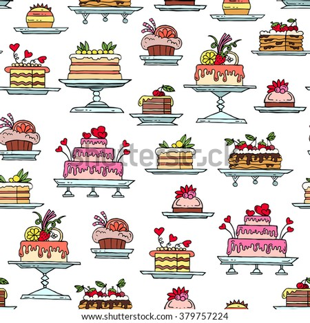 Vector seamless pattern with hand drawn colored cakes. Pattern on the theme of food, desserts. Background for use in design, packing, web site, fabric