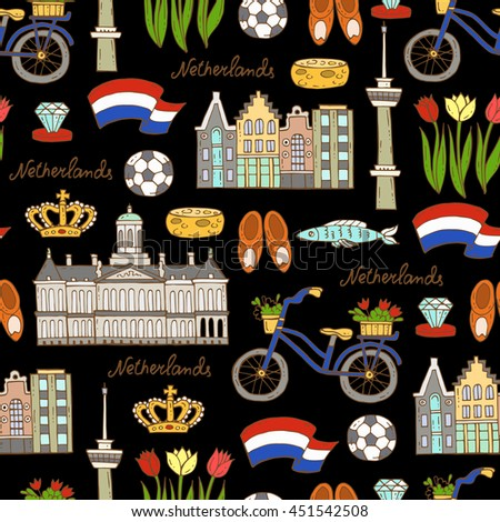 Vector seamless pattern with hand drawn colored symbols of Netherlands on black color. Pattern on the theme of travel and tourism. Background for use in design, packing, web site, fabric