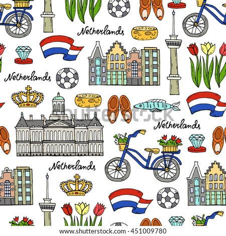 Vector seamless pattern with hand drawn colored symbols of Netherlands. Pattern on the theme of travel and tourism. Background for use in design, packing, web site, fabric