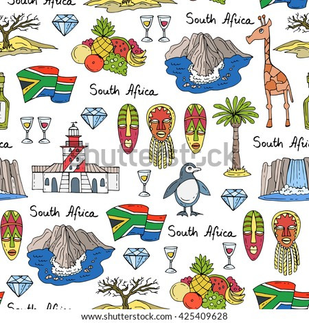 Vector seamless pattern with hand drawn colored symbols of South Africa.  Pattern on the theme of travel and tourism.  Background for use in design, packing, web site, fabric