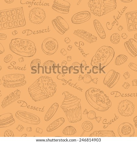 Vector seamless pattern with hand drawn confection on beige background. Background for use in design, web site, packing, textile, fabric