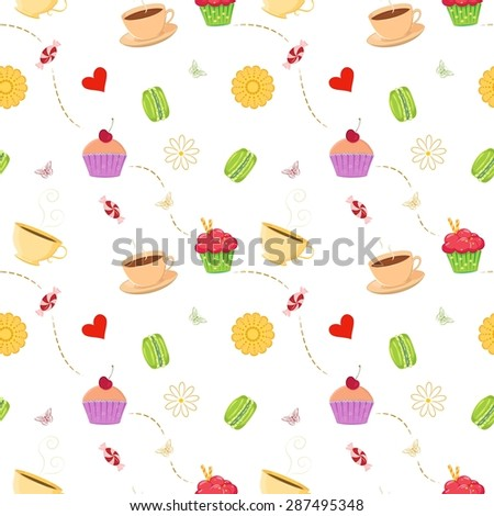 Vector seamless pattern with hand drawn cupcakes, macaroons, candies and tea cups. Unique and elegant kitchen background for digital scrapbook, website wallpapers, textile and wrapping paper - stock vector
