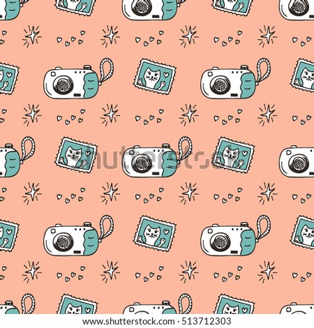 Vector Seamless Pattern with Hand Drawn Doodle Disposable Camera and snapshots with Cat. Retro Photo Cameras