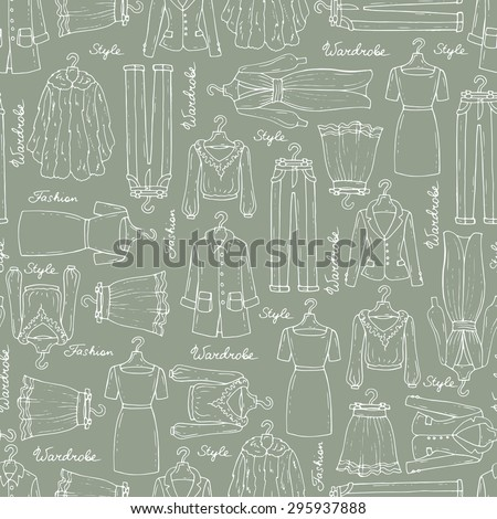 Vector seamless pattern with hand drawn fashionable clothes for women on gray background. Background for use in design, web site, packing, textile, fabric - stock vector