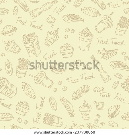 Vector seamless pattern with hand drawn fast food on beige background. Background for use in design, web site, packing, textile, fabric