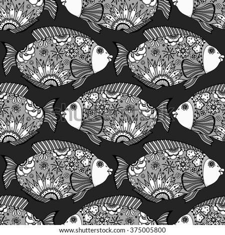 Vector seamless pattern with Hand drawn fish with floral elements in black and white doodle style. Pattern for coloring book