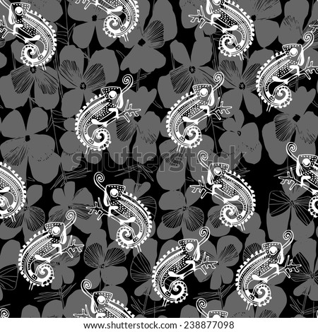 Vector seamless pattern with hand drawn flower viola tricolor and  chameleon. Floral background.