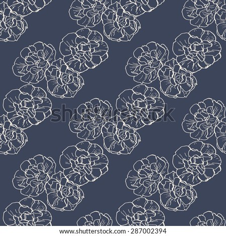 Vector seamless pattern with hand drawn flowers of narcissus on dark blue indigo background. Beige outline. Bridal crown narcissus - stock vector