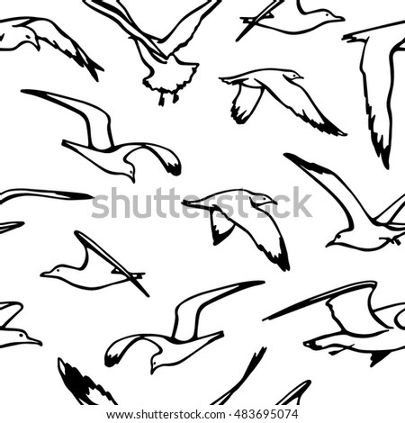 Vector seamless pattern with hand drawn flying sea gulls. Beautiful ink drawing, perfect for prints and patterns