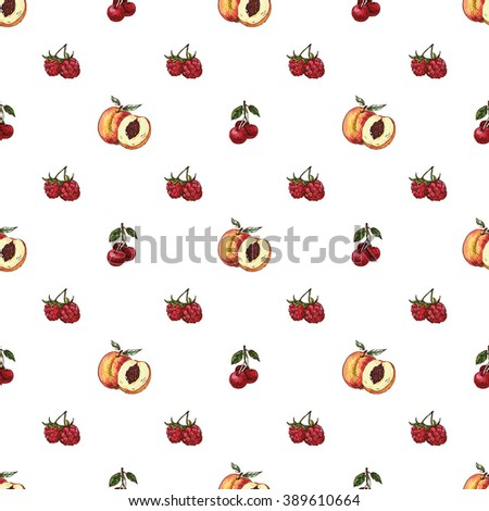 Vector seamless pattern with hand drawn  fruit - stock vector