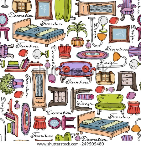 Vector seamless pattern with hand drawn furniture and elements of decor. Background for use in design, web site, packing, textile, fabric - stock vector