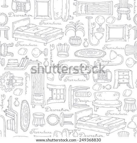 Vector seamless pattern with hand drawn furniture and elements of decor on white background. Background for use in design, web site, packing, textile, fabric - stock vector