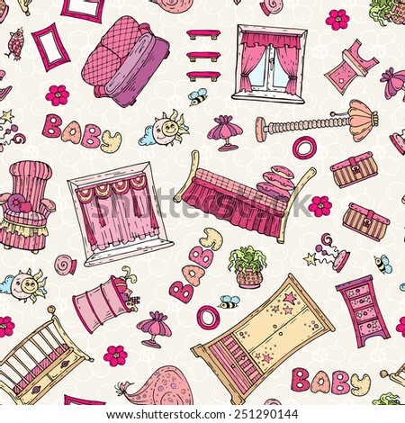 Vector seamless pattern with hand drawn furniture for girl's room in pink color. Background for use in design, web site, packing, textile, fabric - stock vector