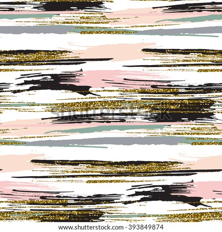 Vector seamless pattern with hand drawn gold glitter textured brush strokes and stripes hand painted. Black, gold, pink, green, beige colors. - stock vector