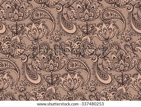 Henna Mehndi Vector : Vector seamless pattern hand drawn henna stock 337480253