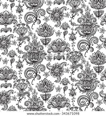 Vector seamless pattern with hand drawn henna mehndi floral elements - stock vector
