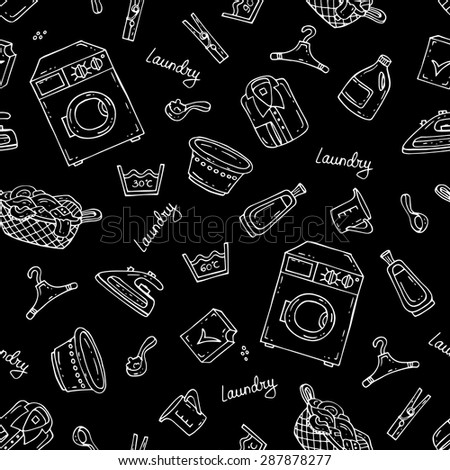 Vector seamless pattern with hand drawn isolated symbols of laundry on black background. Background for use in design, web site, packing, textile, fabric