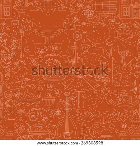 Vector seamless pattern with hand drawn japanese symbols, including geisha, sakura, bonsai, lantern. Cute unique doodle background for digital scrapbooking, wallpapers and fabric, travel background.  - stock vector