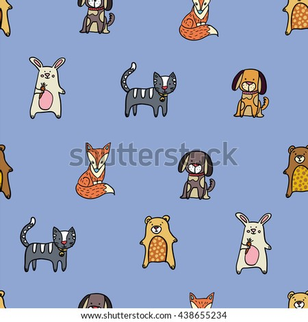 Vector seamless pattern with hand drawn lovely animals: dog, cat, bear, fox and hare. Could be used as textile print, cover, creating card or web-design. - stock vector