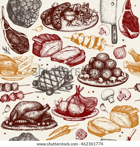 Vector seamless pattern with hand drawn meat  illustration. Restaurant or butchery design. Vintage background with food sketch.